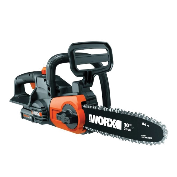 Picture of WORX WG322 Auto-Tension Chainsaw, 20 V Battery, 10 in L Bar/Chain, 3/8 in Bar/Chain Pitch, Black