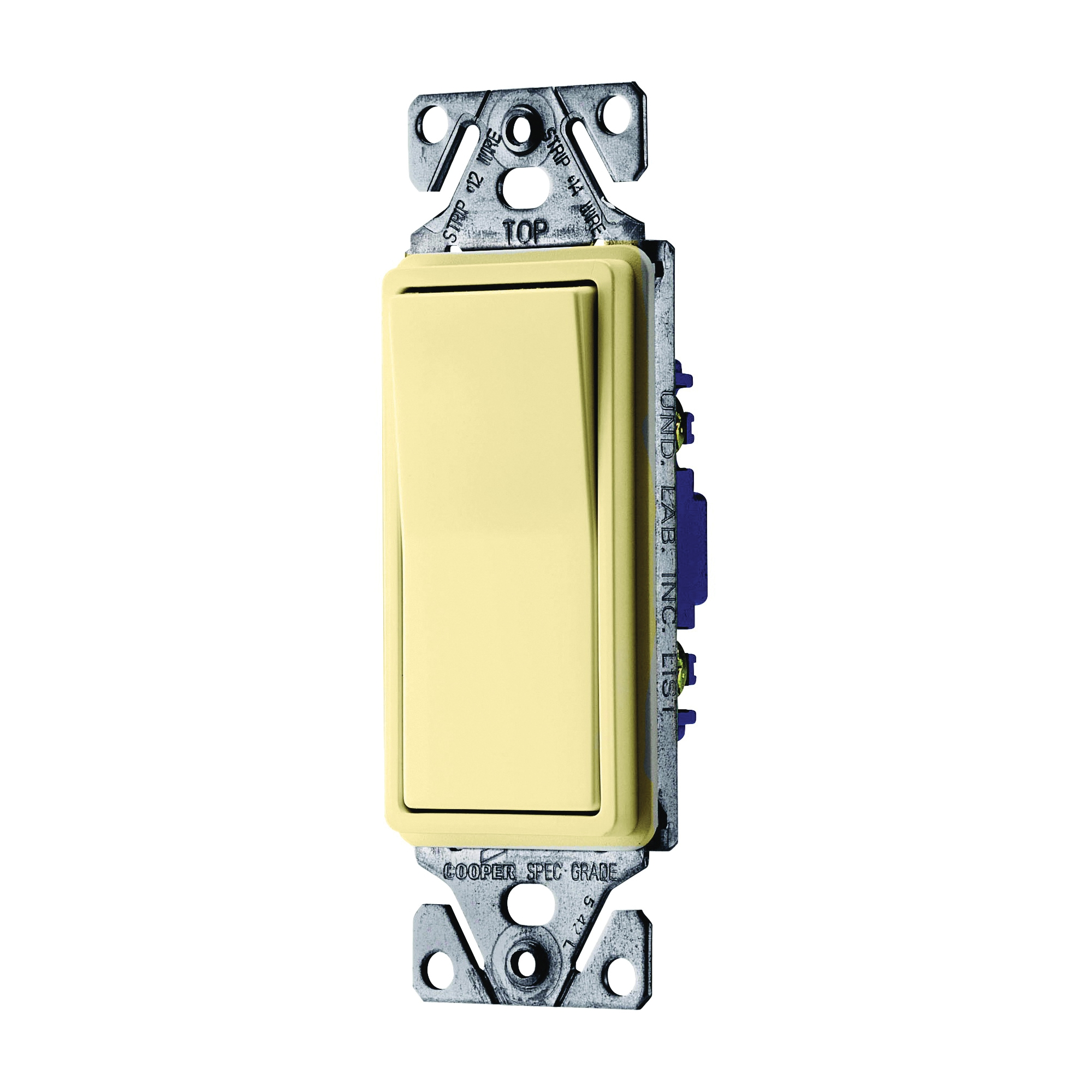Picture of Eaton Wiring Devices 7500 Series C7503V-SP Rocker Switch, 15 A, 120/277 V, 3-Way, Lead Wire Terminal, Ivory