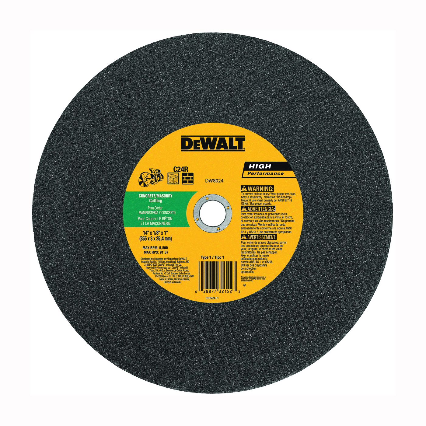 Picture of DeWALT DW8024 Cutting Wheel, 14 in Dia, 1/8 in Thick, 1 in Arbor, Silicone Carbide Abrasive