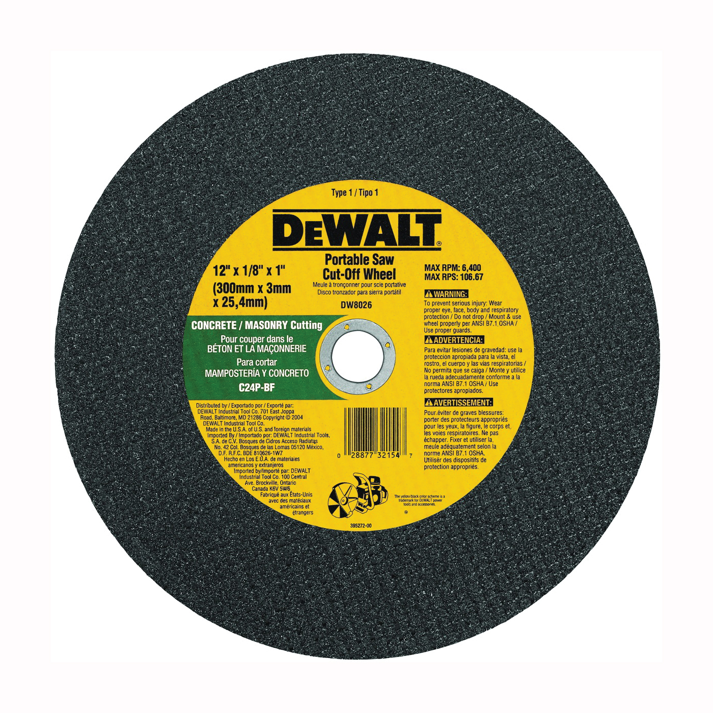 Picture of DeWALT DW8026 Cut-Off Wheel, 12 in Dia, 1/8 in Thick, 1 in Arbor, Coarse, Silicone Carbide Abrasive