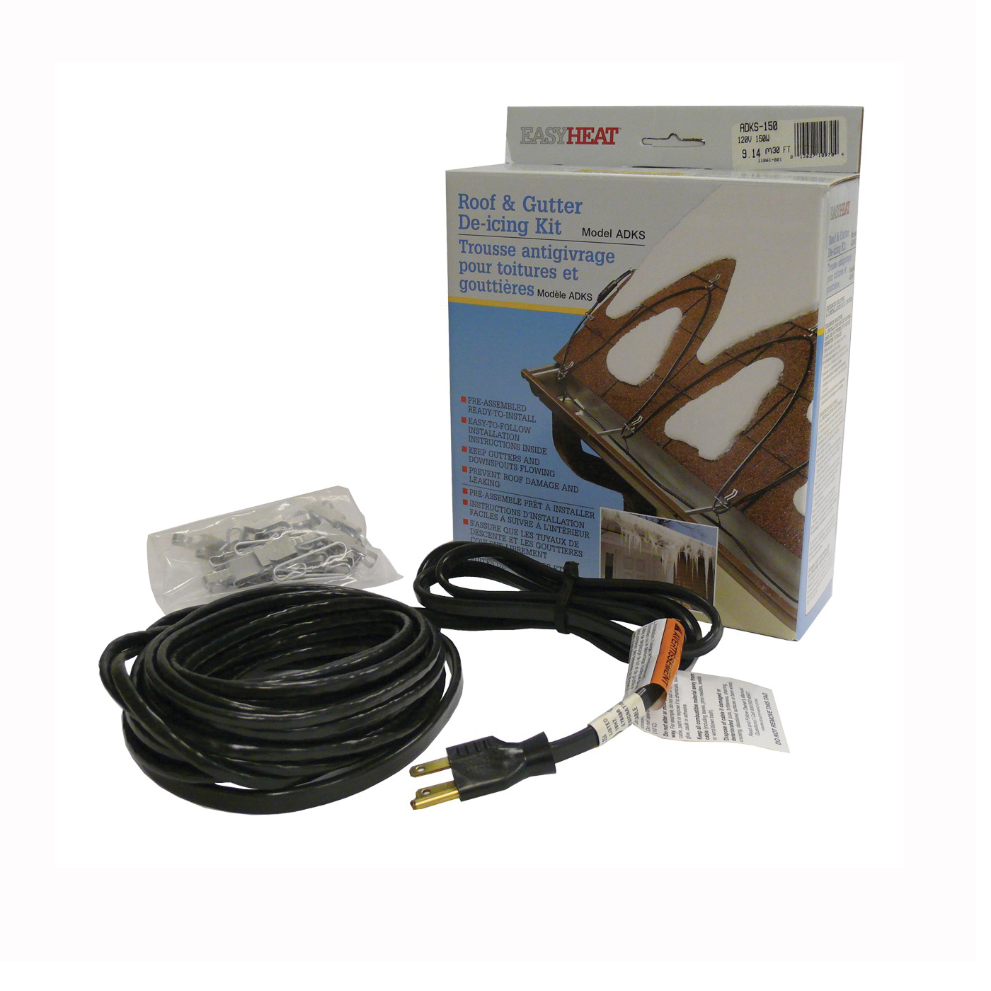 Picture of EasyHeat ADKS Series ADKS600 Roof and Gutter De-Icing Cable, 120 ft L, 120 V, 600 W