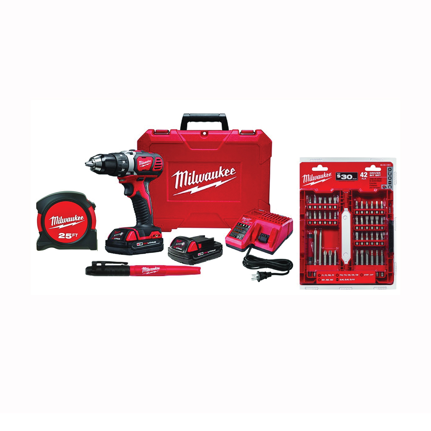 Picture of Milwaukee 2606-22CTP Drill/Driver Kit, Kit, 18 V Battery, 1.5 Ah, 1/2 in Chuck, Ratcheting, Single Sleeve Chuck