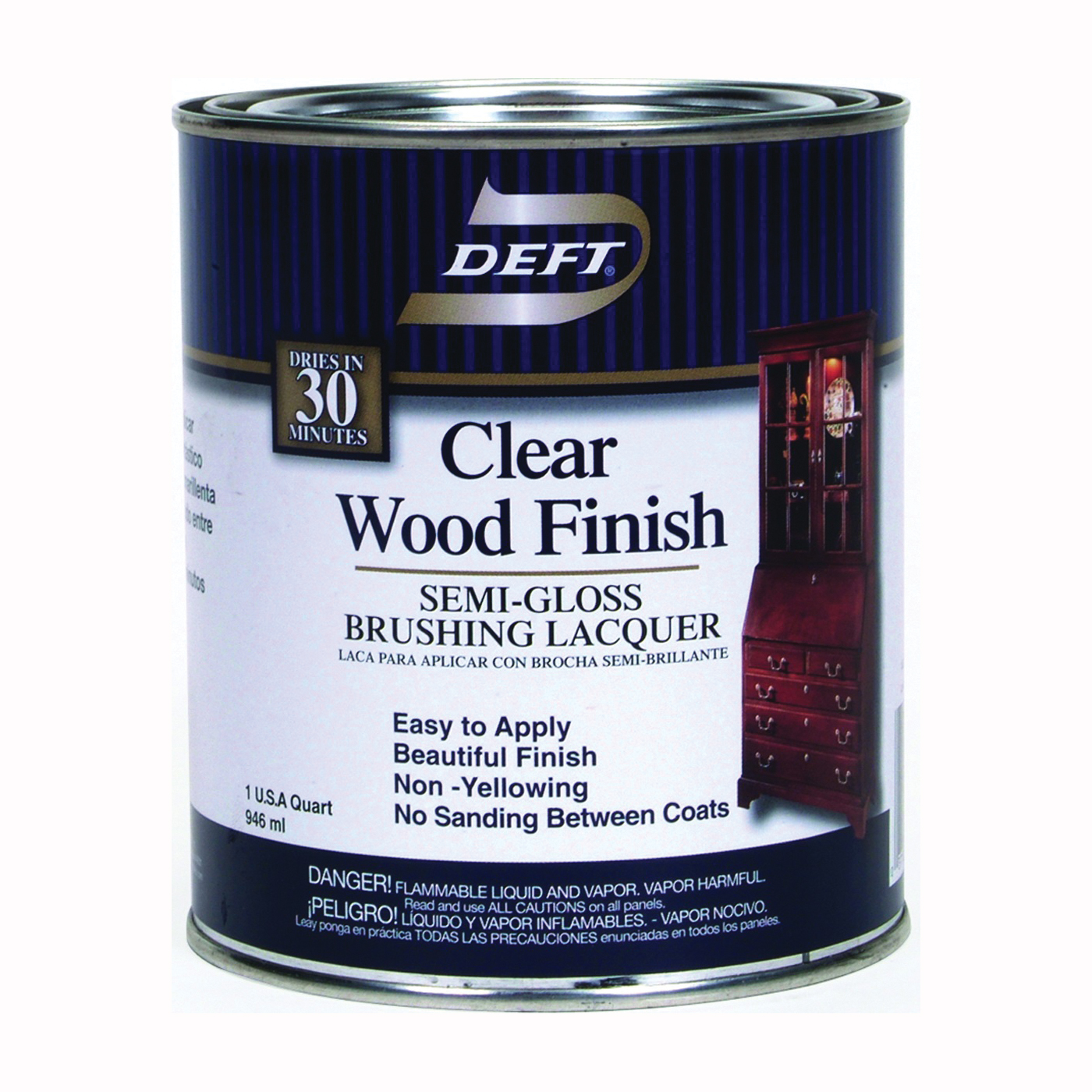 Picture of DEFT 011-04 Brushing Lacquer, Semi-Gloss, Liquid, Clear, 1 qt, Can