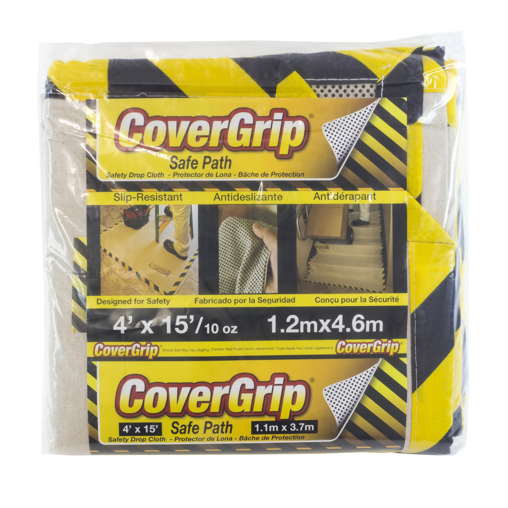 Picture of CoverGrip 41510 Drop Cloth, 15 ft L, 4 ft W, Canvas, Beige/Cream