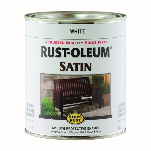 Picture of RUST-OLEUM STOPS RUST 7791502 Satin Enamel, Satin, White, 1 qt, Can