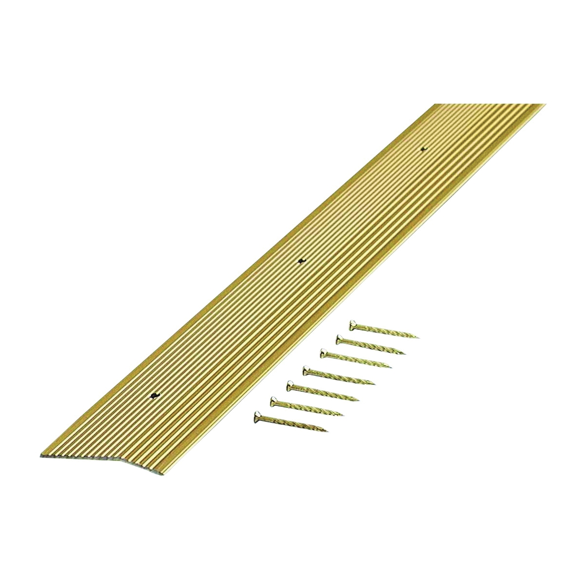 Picture of M-D 79251 Carpet Trim, 72 in L, 2 in W, Fluted Surface, Aluminum, Satin Brass