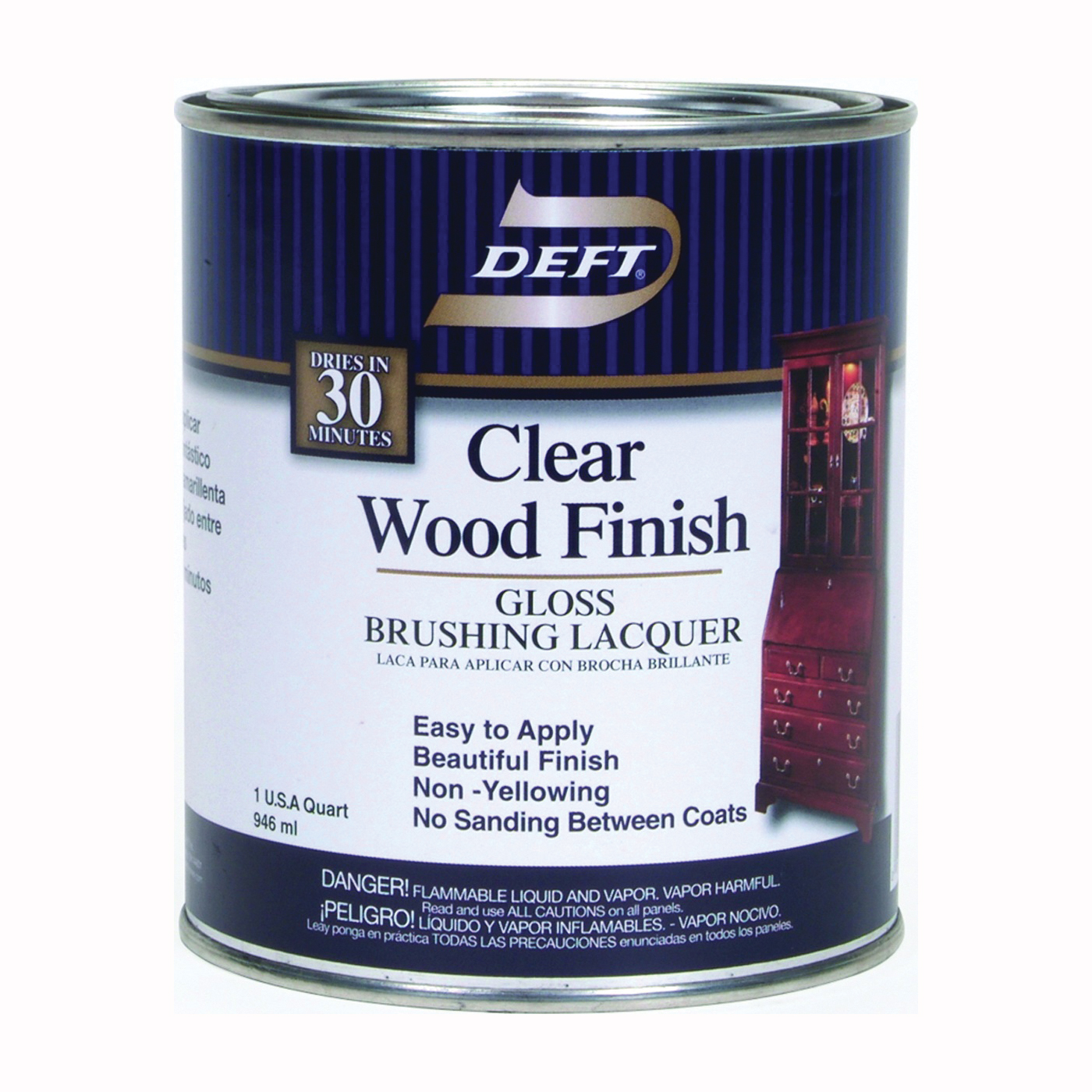Picture of DEFT 010-04 Brushing Lacquer, Gloss, Liquid, Clear, 1 qt, Can