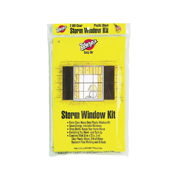 Picture of Warp's Easy-On EZ-36 Storm Window Kit, 36 in W, 2 mil Thick, 72 in L, Clear