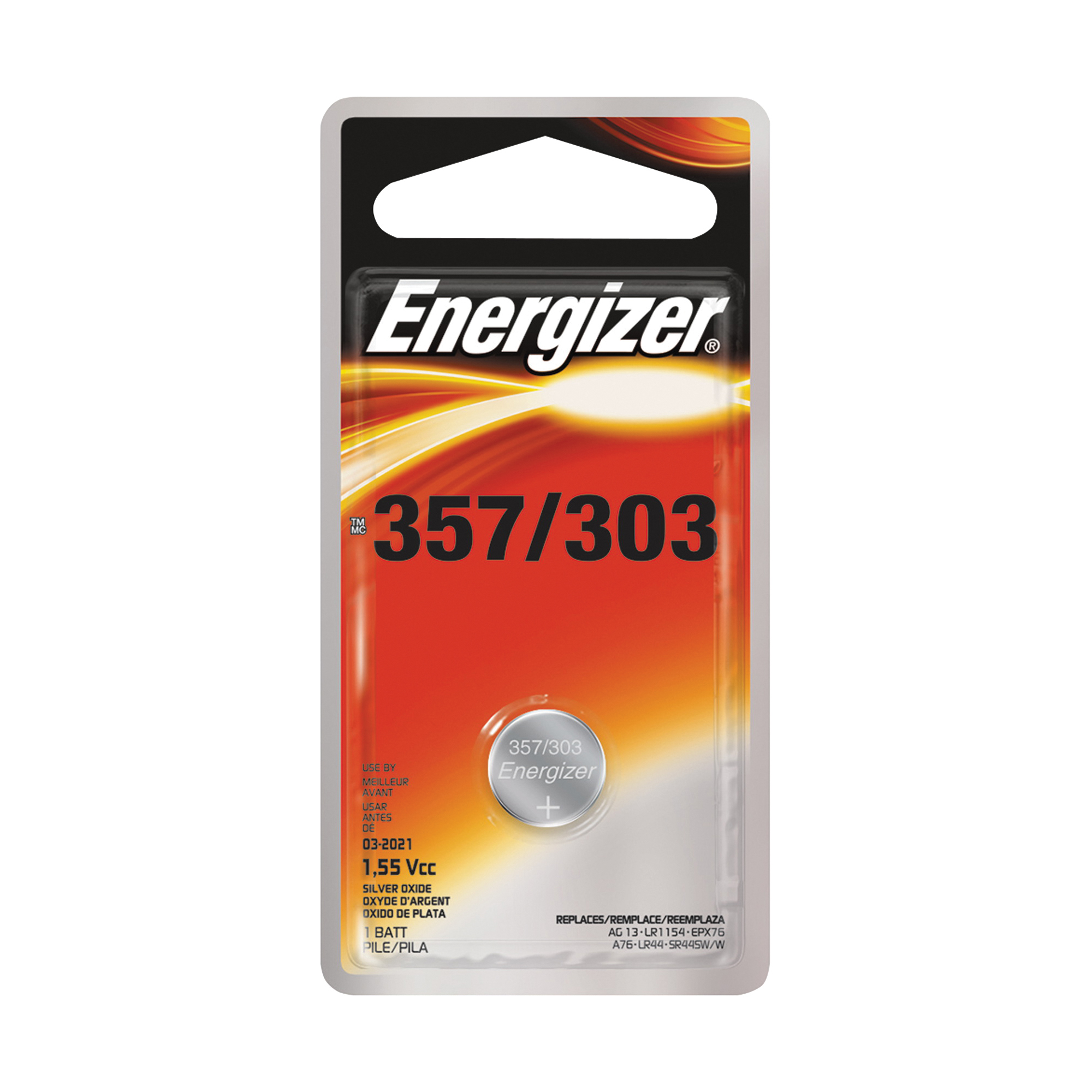 Picture of Energizer 357BPZ Coin Cell Battery, 1.5 V Battery, 150 mAh, 357 Battery, Silver Oxide