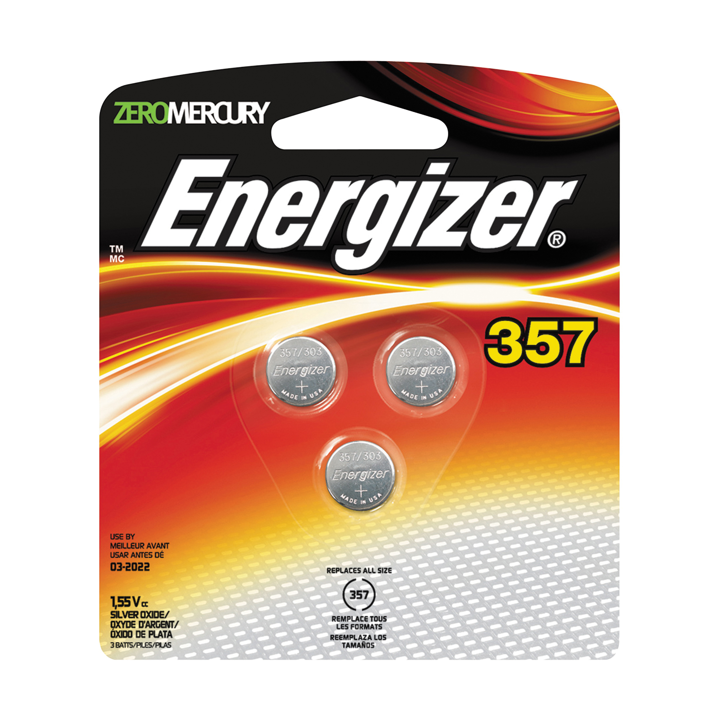 Picture of Energizer 357BPZ-3 Coin Cell Battery, 1.5 V Battery, 150 mAh, 357 Battery, Silver Oxide
