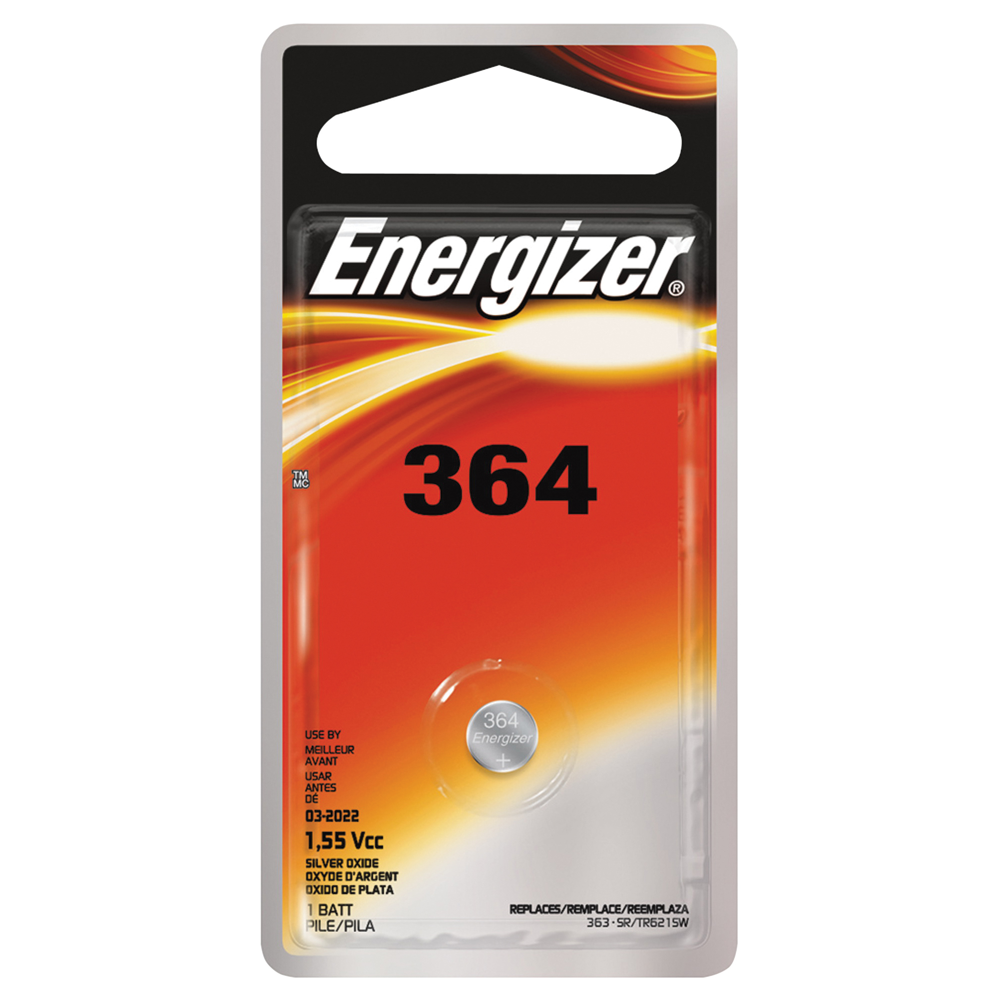 Picture of Energizer 364BPZ Button Cell Battery, 1.5 V Battery, 18 mAh, 364 Battery, Silver Oxide