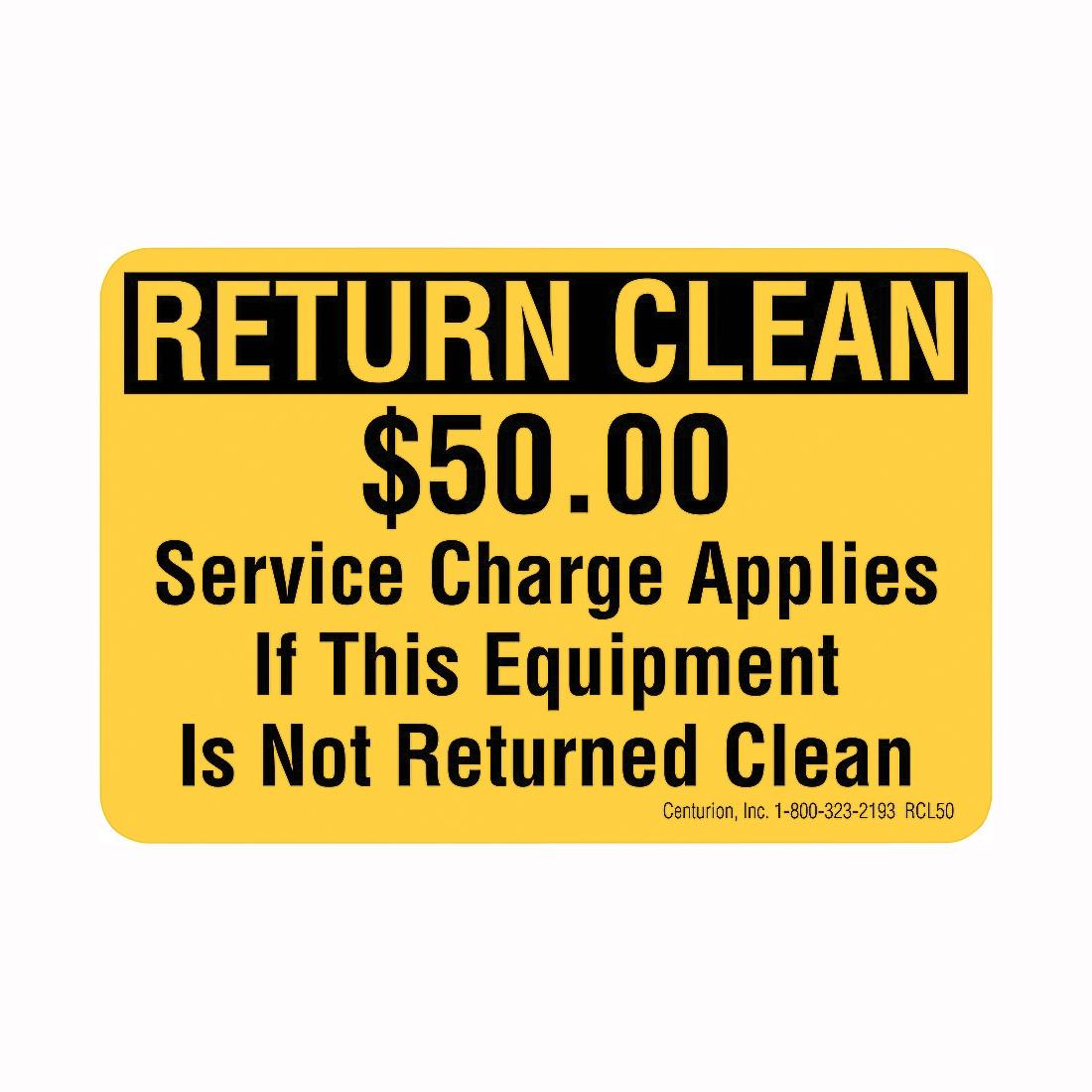 Picture of Centurion RCL50 Rental Equipment Decal, RETURN CLEAN, Vinyl