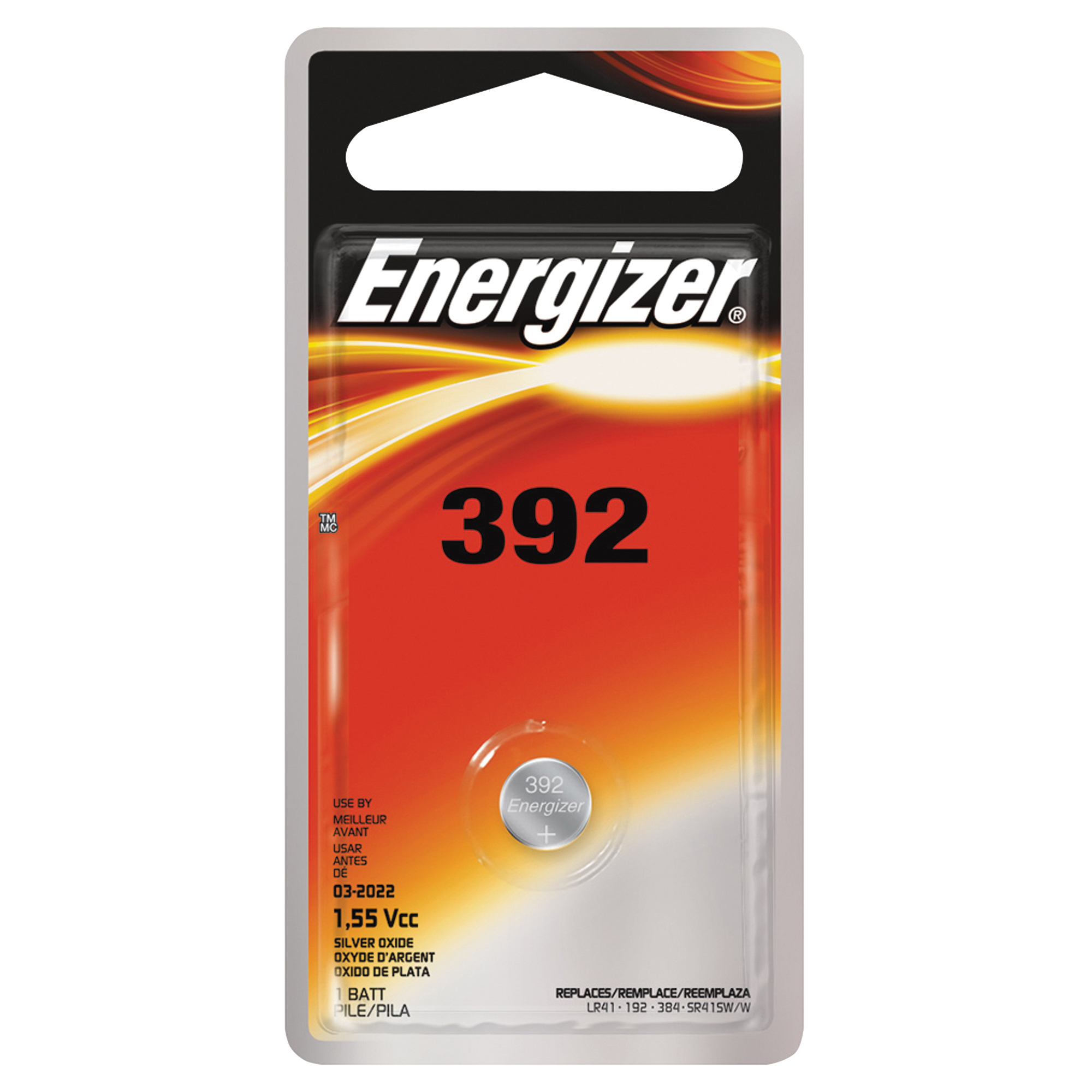 Picture of Energizer 392BPZ Coin Cell Battery, 1.5 V Battery, 44 mAh, 392 Battery, Silver Oxide