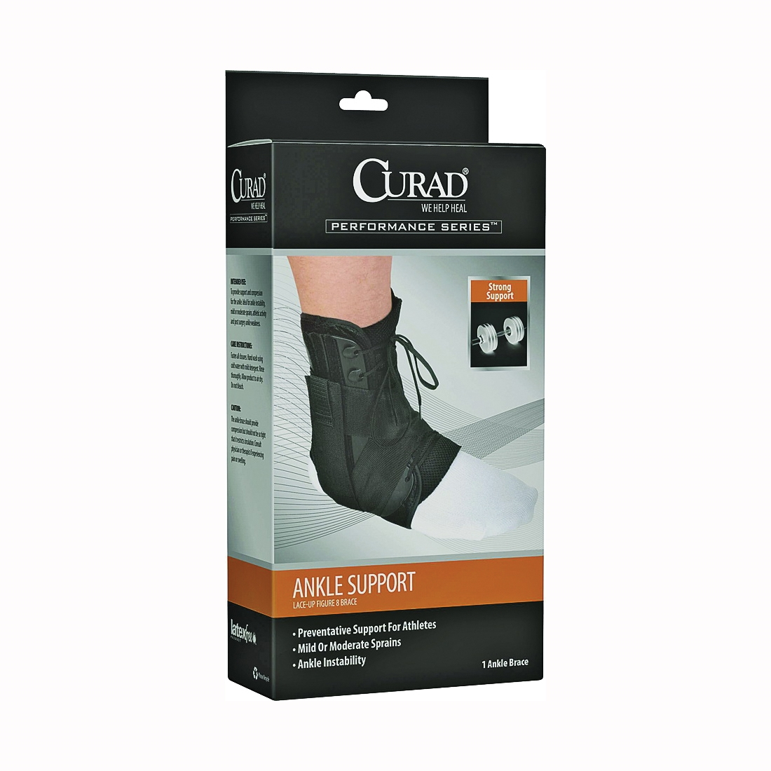 Picture of CURAD ORT27600LD Ankle Splint, Vinyl Bandage, Lace-Up Adhesive, 4, Case