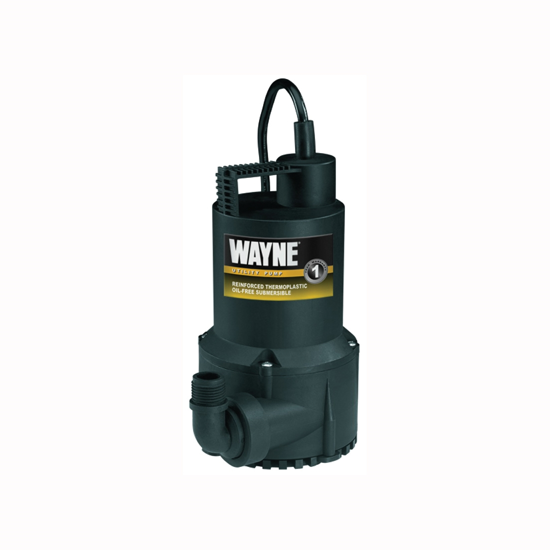 Picture of WAYNE RUP160 Utility Pump, 1-Phase, 2.5 A, 120 V, 0.166 hp, 1-1/4 in Outlet, 3100 gph, Thermoplastic Impeller