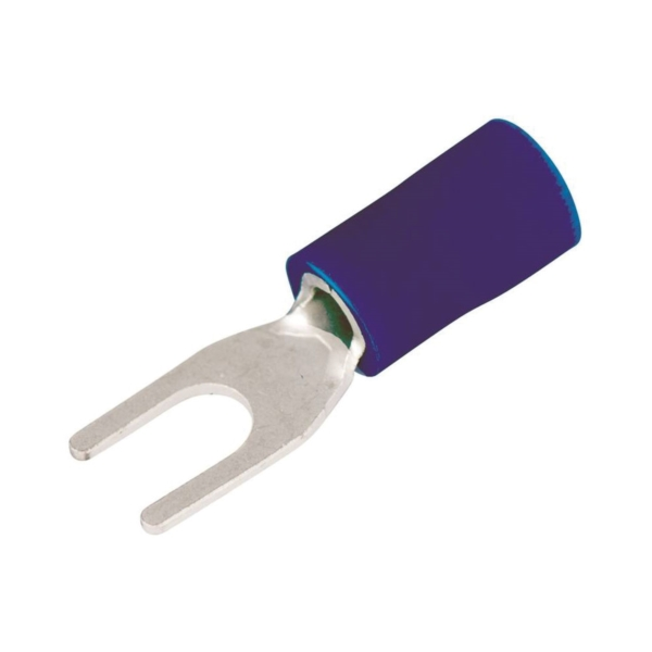 Picture of GB 20-113 Spade Terminal, 600 V, 16 to 14 AWG Wire, #4 to 6 Stud, Vinyl Insulation, Blue, 20/Clam
