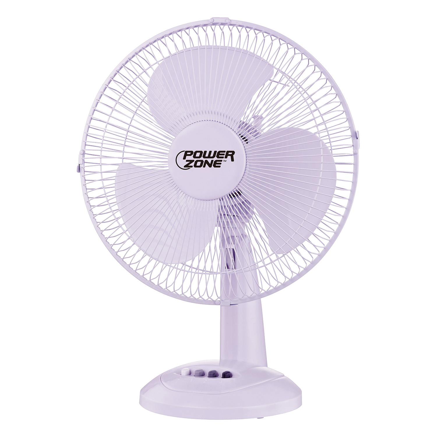 Picture of PowerZone FT-30 Oscillating Table Fan, 120 V, 12 in Dia Blade, 3-Blade, 3-Speed, 72 in L Cord, White