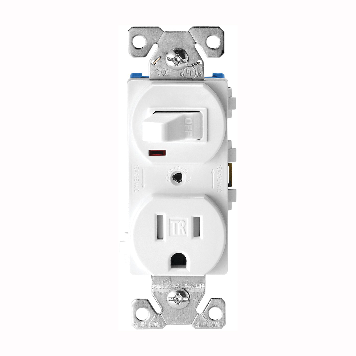 Picture of Eaton Cooper Wiring TR274W Heavy-Duty Combination Switch/Receptacle, 120 V Switch, 125 V Receptacle, 2-Pole