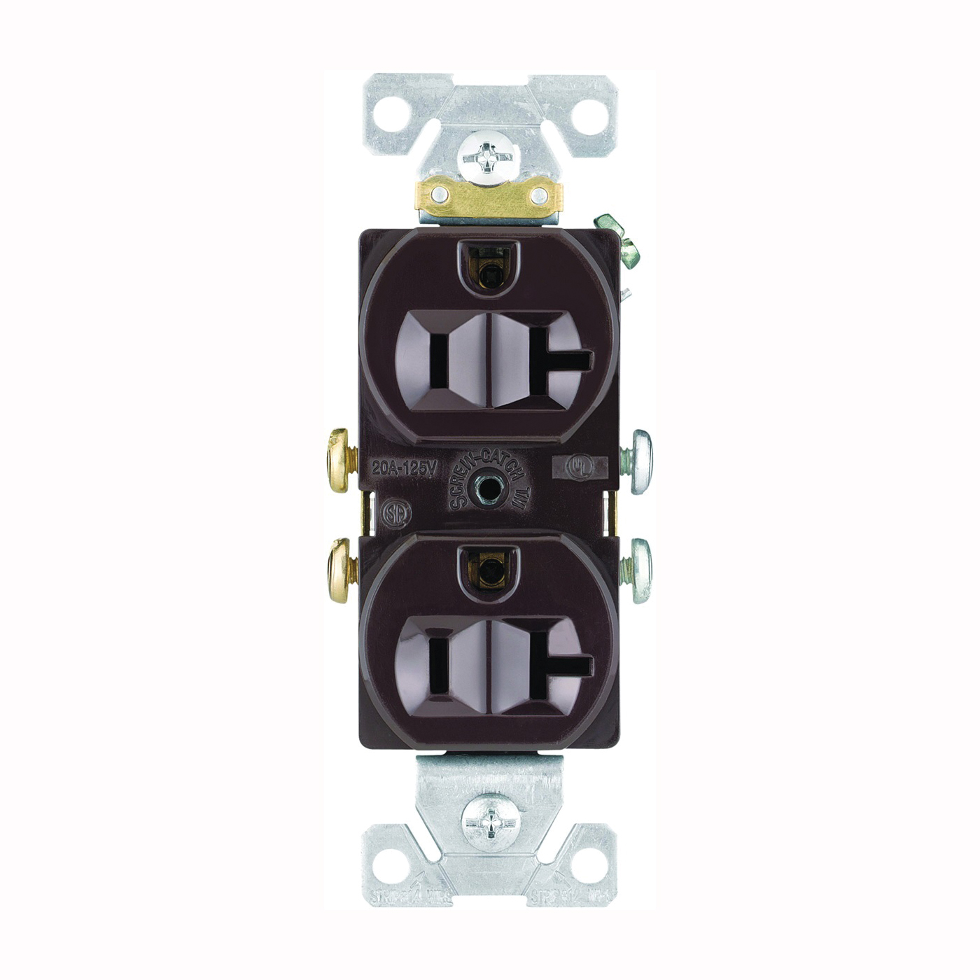 Picture of Eaton Wiring Devices CR20B Duplex Receptacle, 2-Pole, 20 A, 125 V, Side Wiring, NEMA: 5-20R, Brown