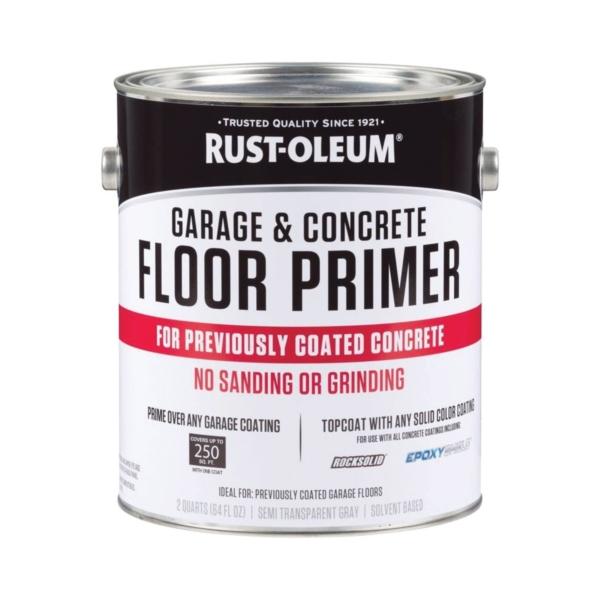 Picture of RUST-OLEUM 306196 Floor Primer, Flat/Matte, Semi-Transparent Gray, Liquid, 64 oz