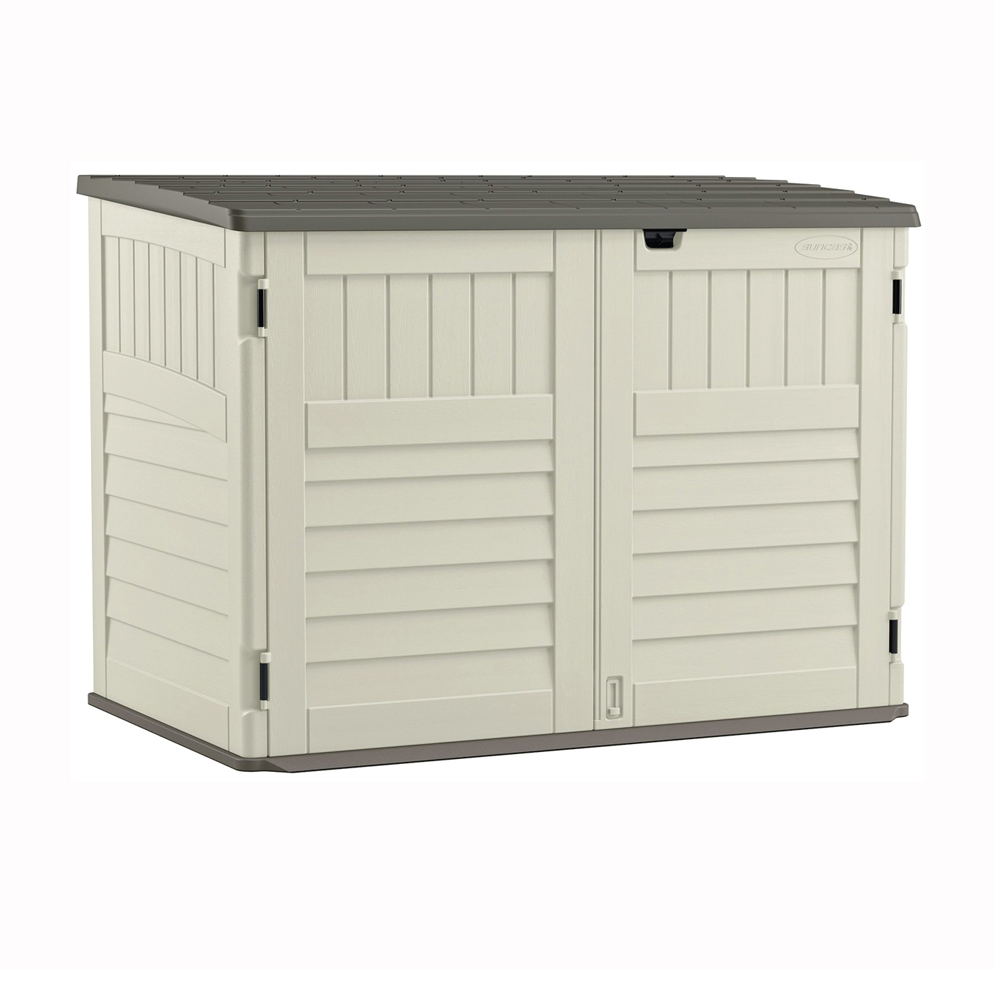 Picture of Suncast Stow-Away BMS4700 Storage Shed, 70 cu-ft Capacity, 5 ft 10-1/2 in W, 3 ft 8-1/4 in D, 4 ft 4 in H, Resin