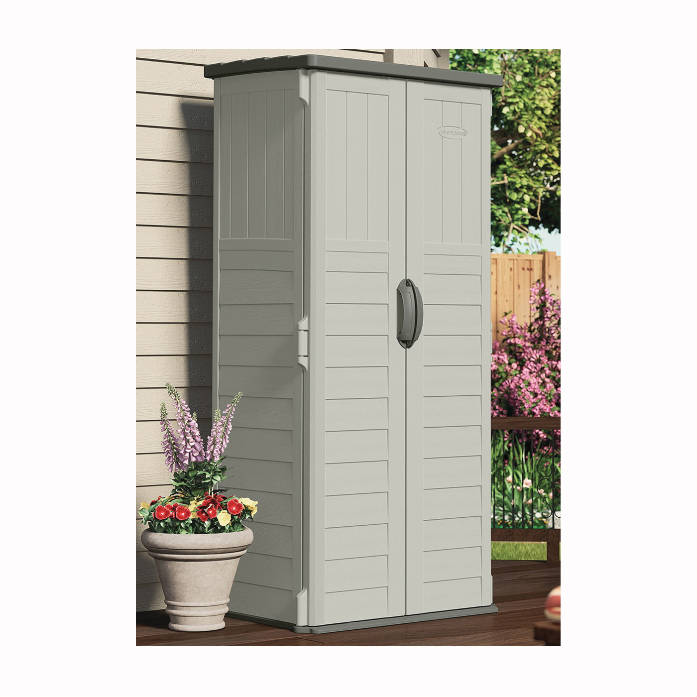 Picture of Suncast BMS1250 Storage Shed, 22 cu-ft Capacity, 2 ft 8-1/4 in W, 2 ft 1-1/2 in D, 6 ft H, Resin, Stoney/Vanilla