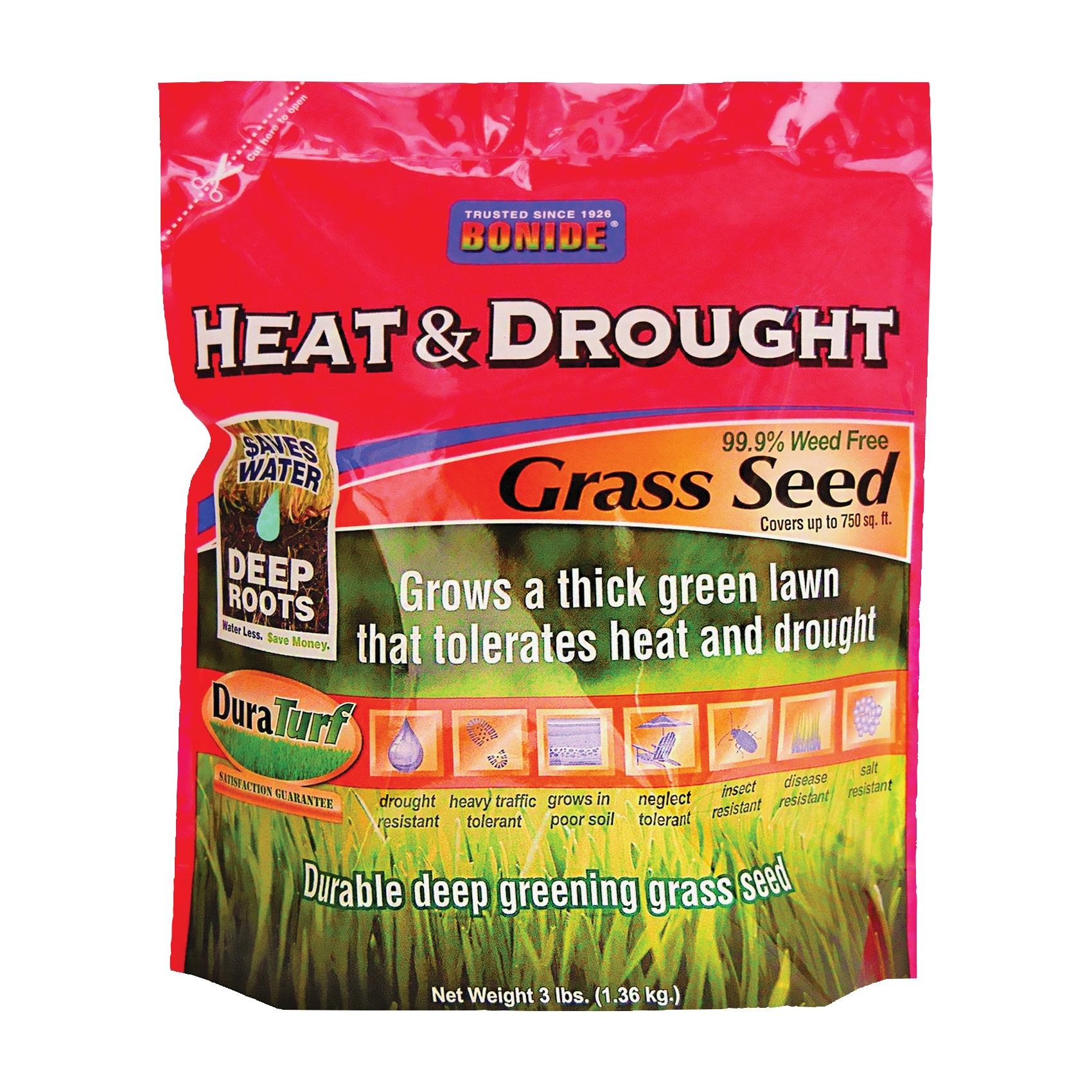 Picture of Bonide 60252 Heat and Drought Grass Seed, 3 lb Package, Bag