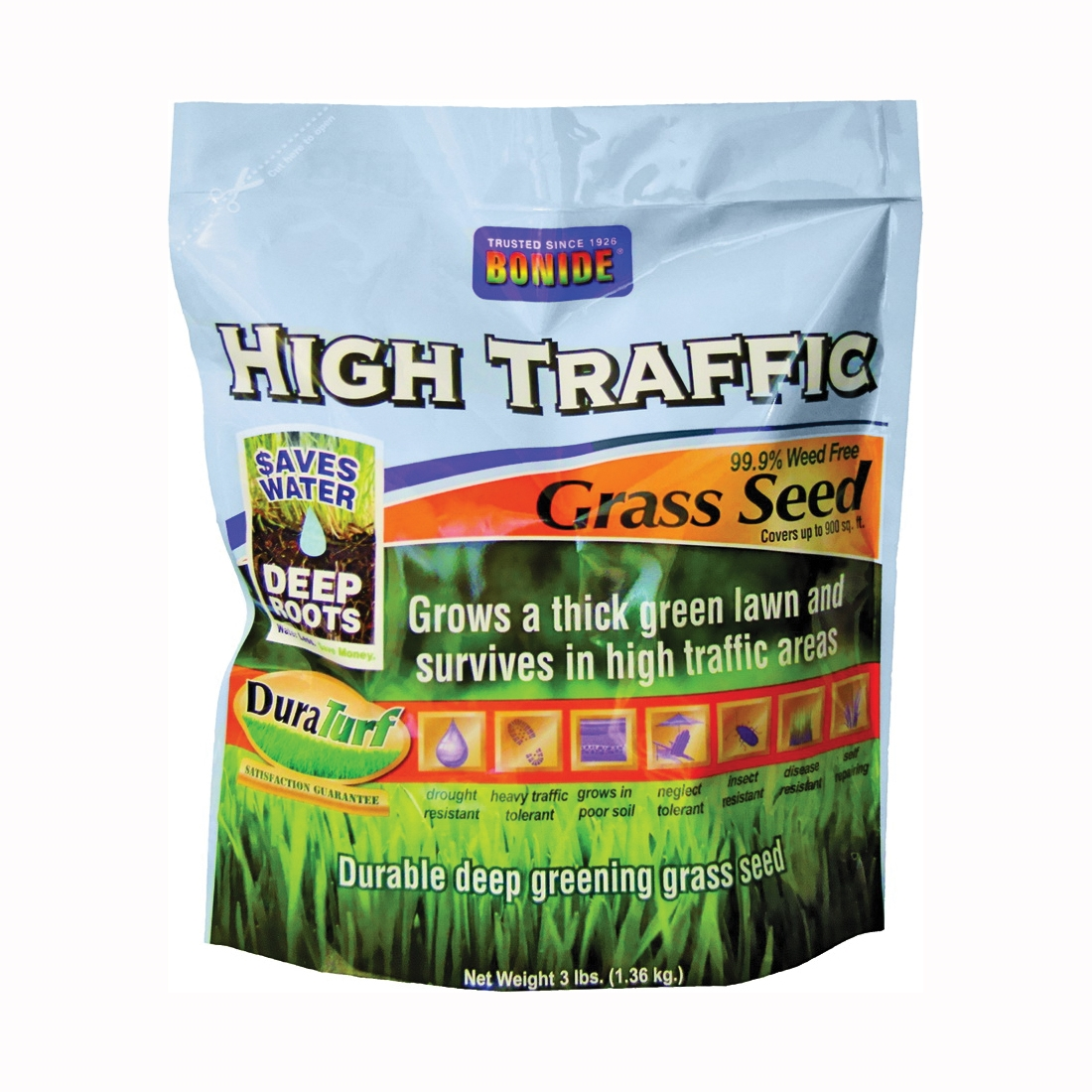 Picture of Bonide 60282 High Traffic Grass Seed, 3 lb Package, Bag