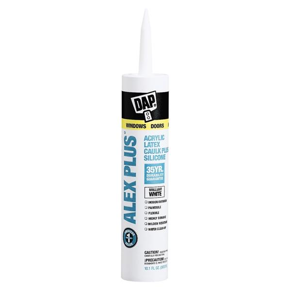 Picture of DAP ALEX PLUS 18152 Acrylic Latex Caulk with Silicone, White, -20 to 180 deg F, 10.1 fl-oz Package, Cartridge