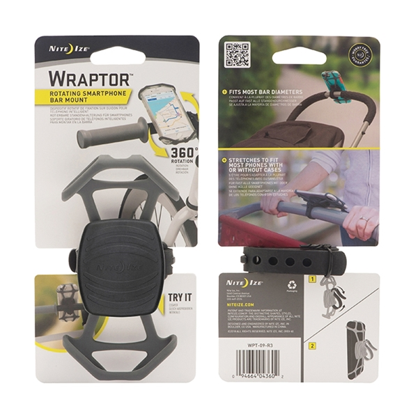Picture of Nite Ize Wraptor WPT-09-R3 Rotating Smartphone Bar Mount, Gray