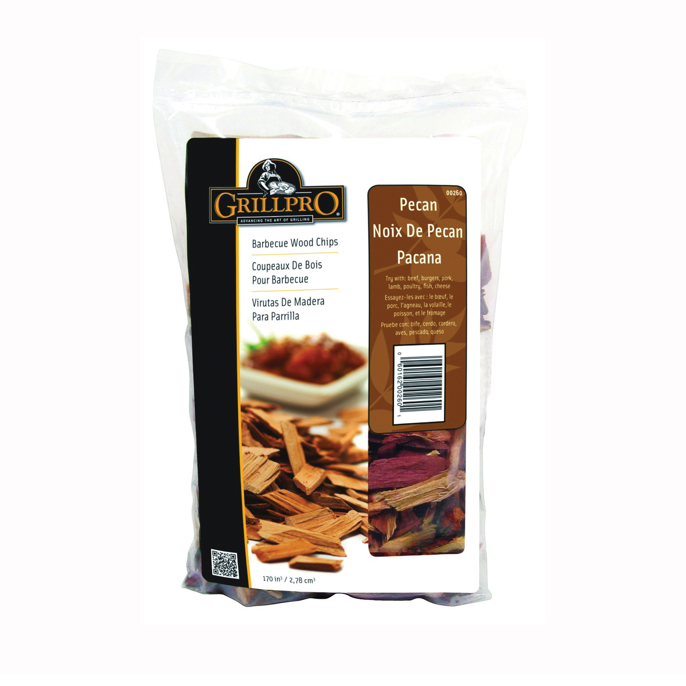 Picture of GrillPro 260 Pecan Wood Chips, Wood, 2 lb Package, Bag