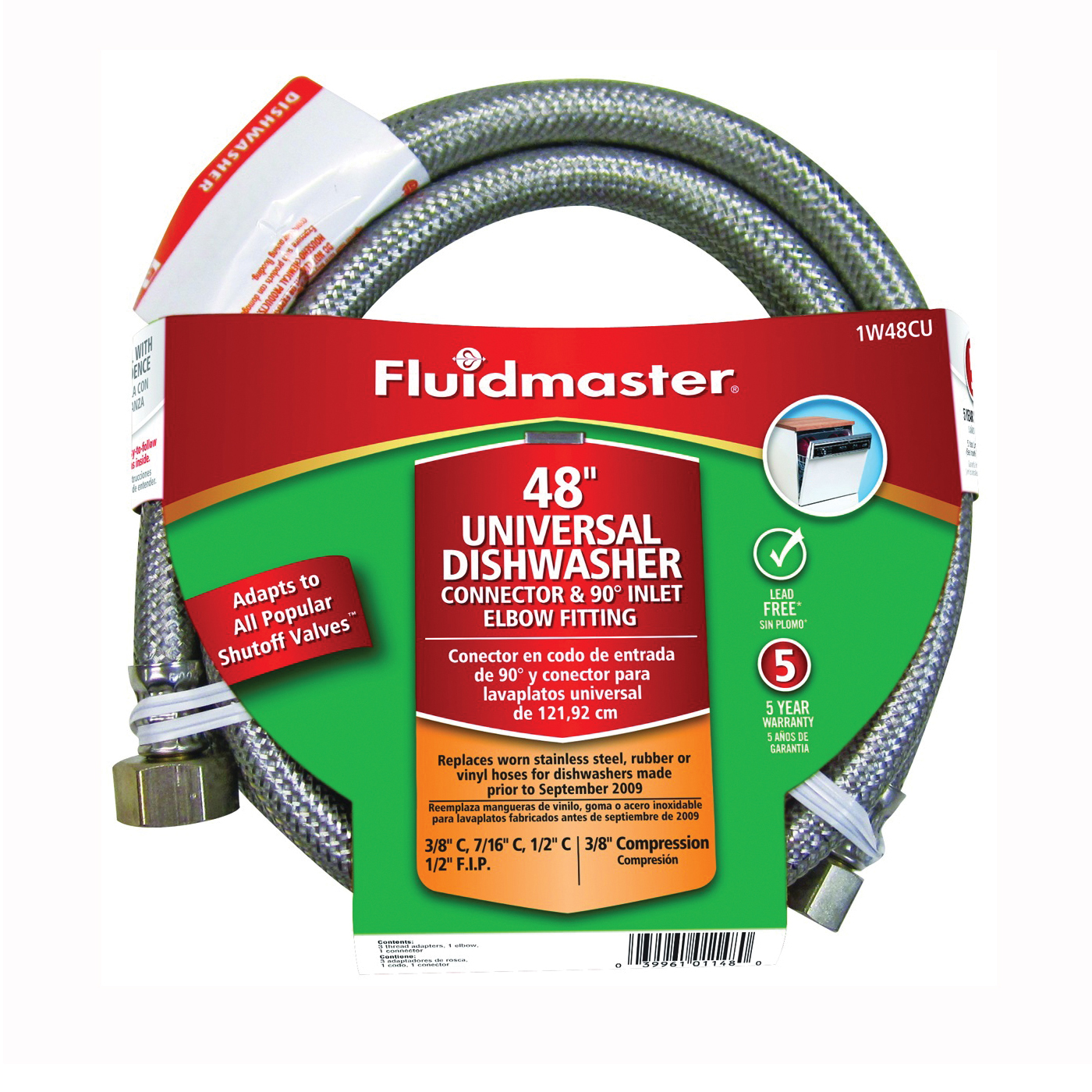 Picture of FLUIDMASTER 1W48CU Dishwasher Connector, 3/8 in, Compression, Polymer/Stainless Steel
