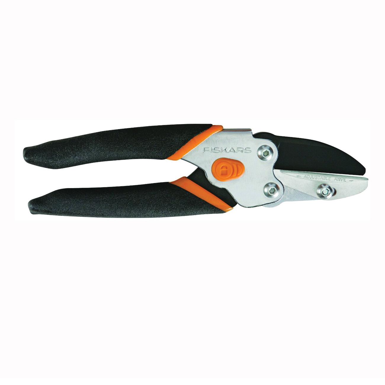 Picture of FISKARS 91156935 Pruner, 5/8 in Cutting Capacity, Steel Blade, Anvil Blade, Soft-Grip Handle