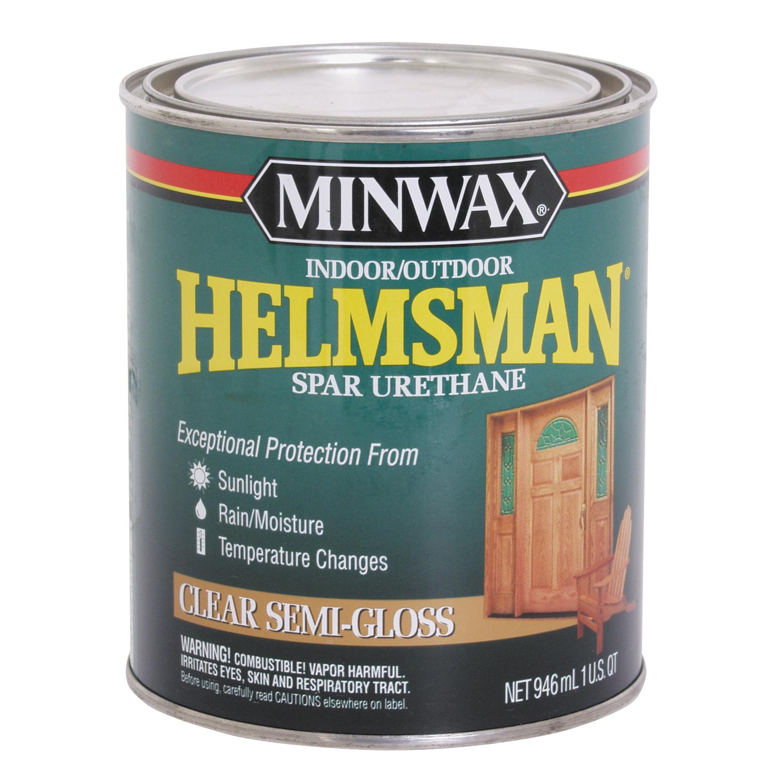 Picture of Minwax Helmsman 63210444 Spar Urethane Paint, Semi-Gloss, Clear, Liquid, 1 qt, Can