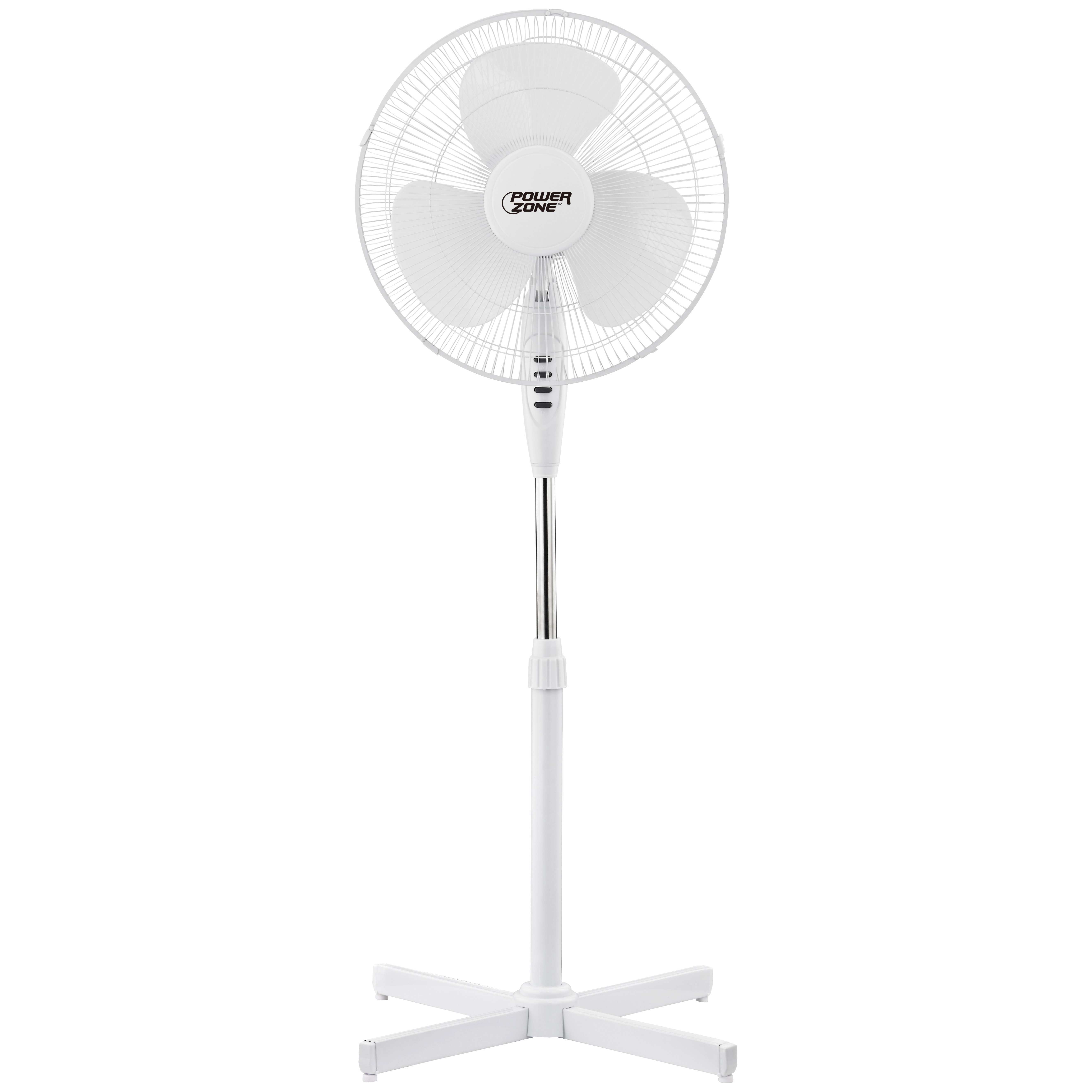 Picture of PowerZone FS-40E Oscillating Floor Fan, 120 V, 0.42 A, 90 deg Sweep, 16 in Dia Blade, 3-Blade, Plastic Blade