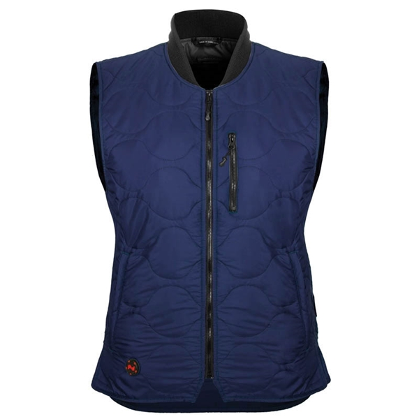 Picture of Mobile Warming MWJ18W06-06-04 Safety Vest, L, Women's, Fits to Chest Size: 40 in, Nylon, Navy