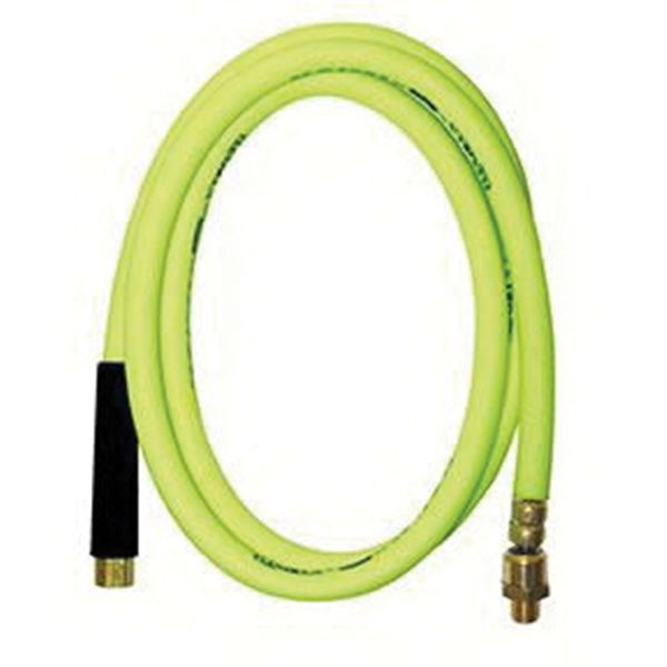 Picture of Flexzilla HFZ38100YW2 Premium Air Hose, 3/8 in ID, 100 ft L, MNPT, 300 psi Pressure, Polymer, Green
