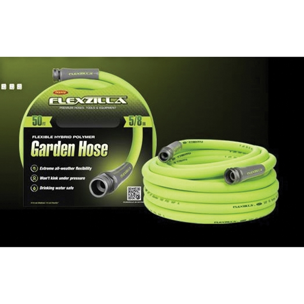 Picture of Flexzilla SwivelGrip HFZG510YWS-N/CA Garden Hose, 5/8 in, 10 ft L, GHT, Polymer, Green
