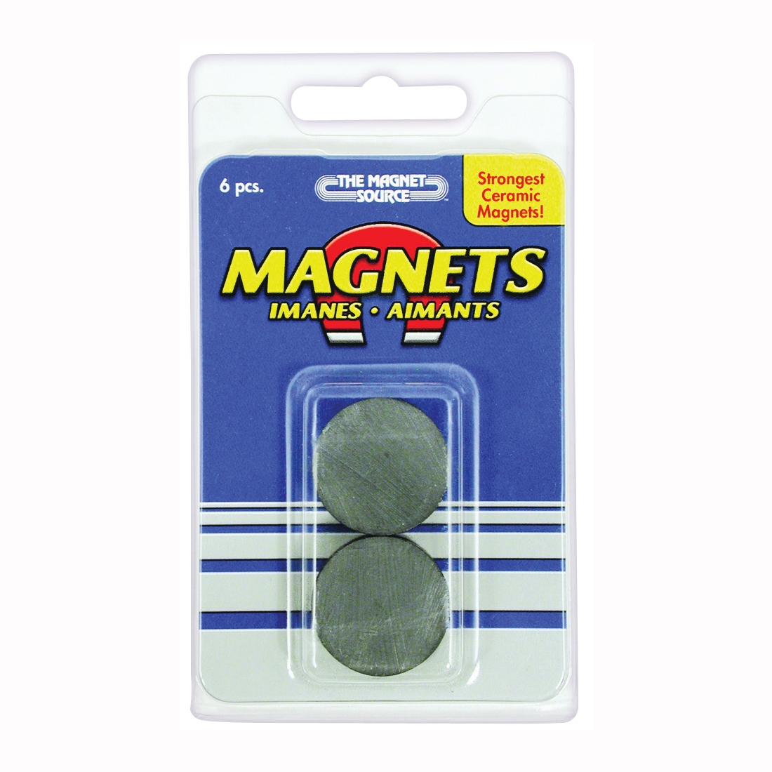 Picture of Magnet Source 07004 Magnetic Discs, 1 in Dia, Charcoal Gray, 6, Pack