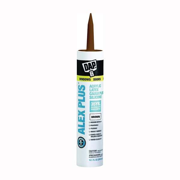 Picture of DAP ALEX PLUS 18120 Acrylic Latex Caulk with Silicone, Brown, -20 to 180 deg F, 10.1 fl-oz Package, Cartridge