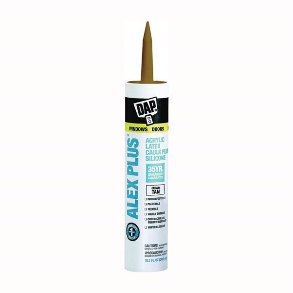 Picture of DAP ALEX PLUS 18122 Acrylic Latex Caulk with Silicone, Cedar Tan, -20 to 180 deg F, 10.1 fl-oz Package, Cartridge