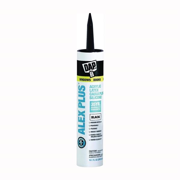 Picture of DAP ALEX PLUS 18126 Acrylic Latex Caulk with Silicone, Black, -20 to 180 deg F, 10.1 fl-oz Package, Cartridge