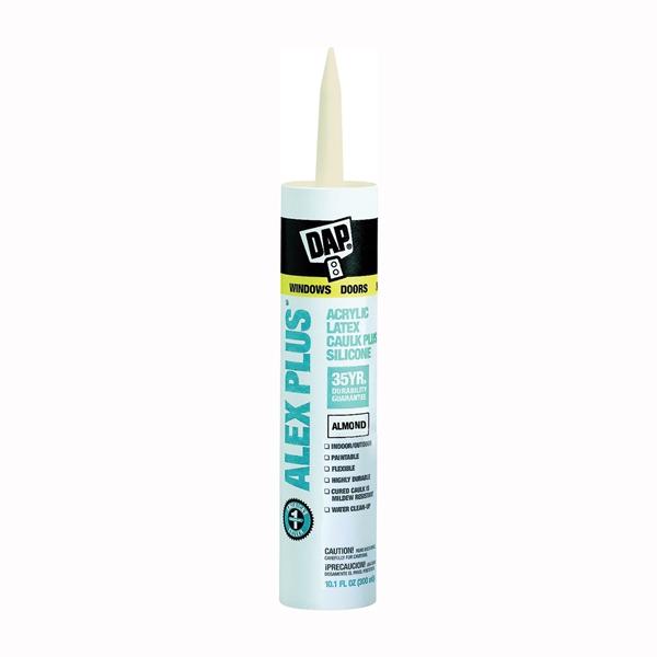 Picture of DAP ALEX PLUS 18130 Acrylic Latex Caulk with Silicone, Almond, -20 to 180 deg F, 10.1 fl-oz Package, Cartridge
