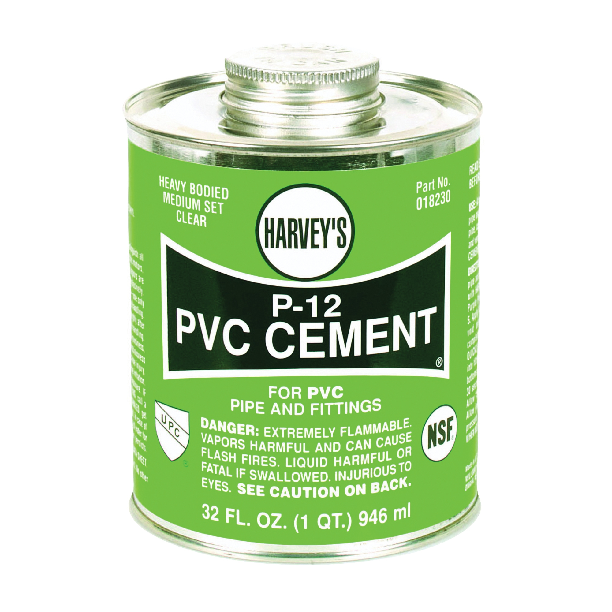 Picture of HARVEY 018230-12 Solvent Cement, 32 oz, Can, Liquid, Clear