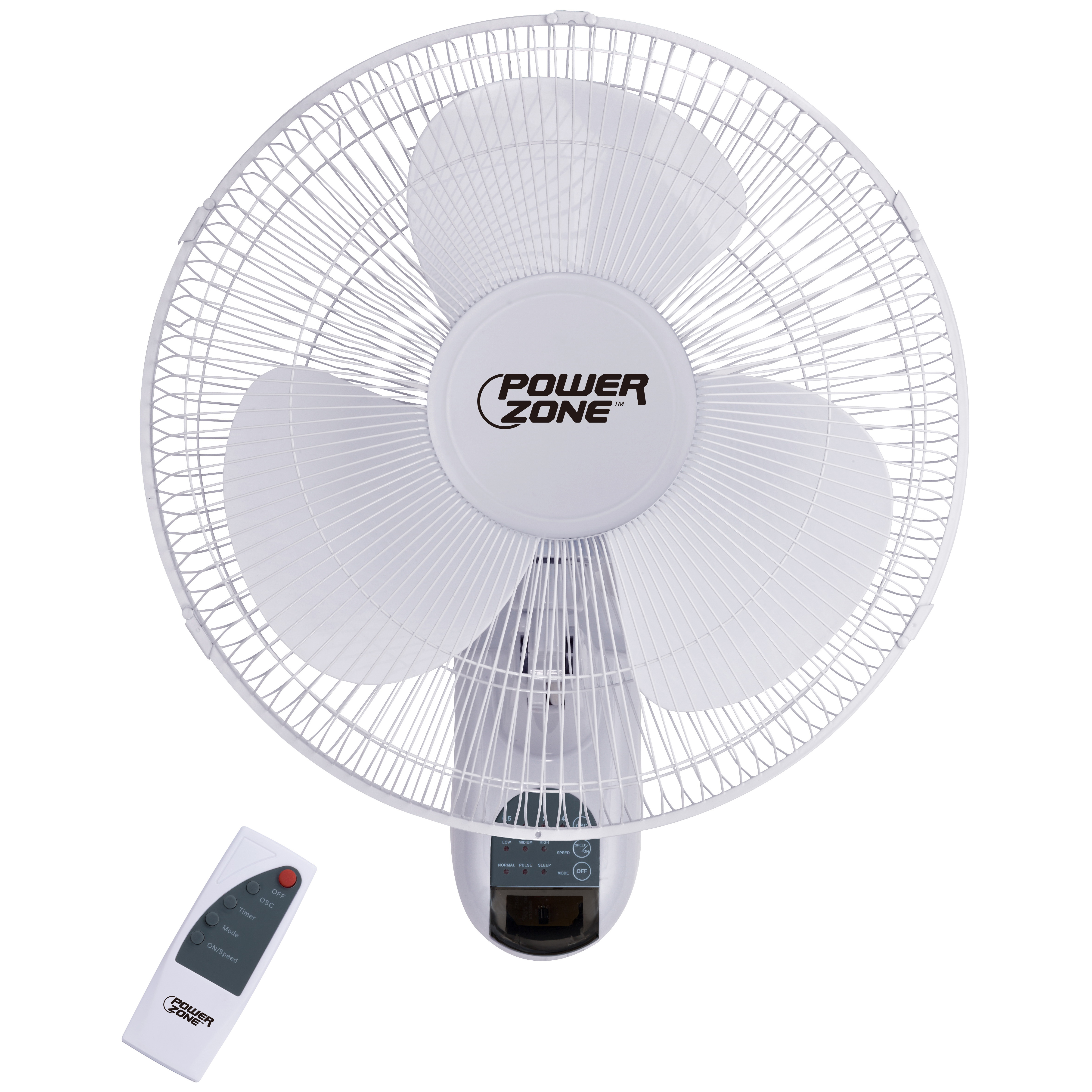 Picture of PowerZone FTW-40 Wall-Mount Fan, 120 V, 16 in Dia Blade, 3-Blade, Plastic Blade, 3-Speed, White