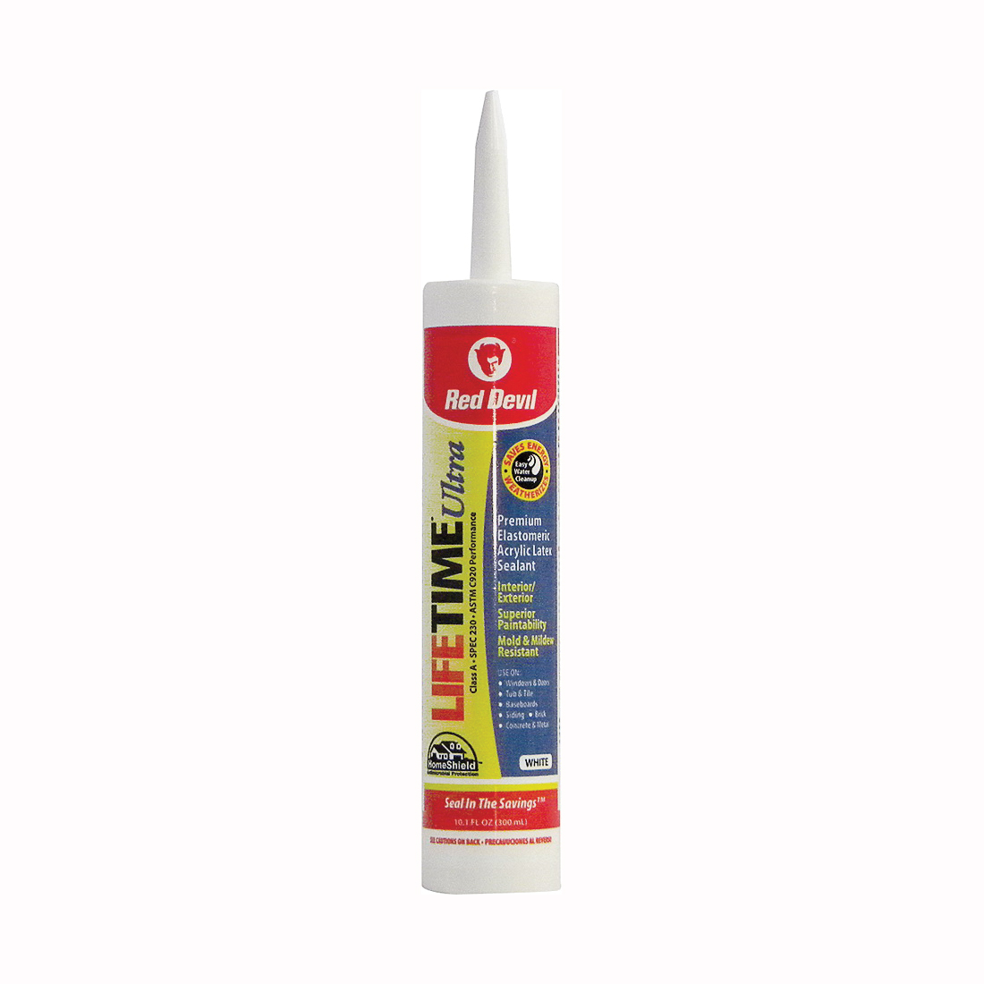 Picture of Red Devil Lifetime 0770 Acrylic Sealant, White, 40 to 90 deg F, 10.1 fl-oz Package, Cartridge