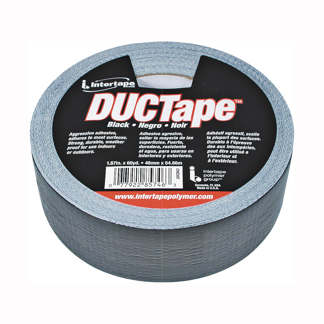 Picture of IPG 20C-BK2 Duct Tape, 60 yd L, 1.88 in W, Polyethylene-Coated Cloth Backing, Black