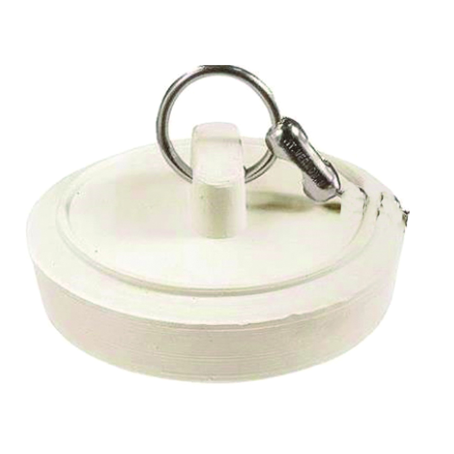 Picture of Plumb Pak Duo Fit PP820-1 Drain Stopper, Rubber, White, For: 1-1/8 to 1-1/4 in Sink