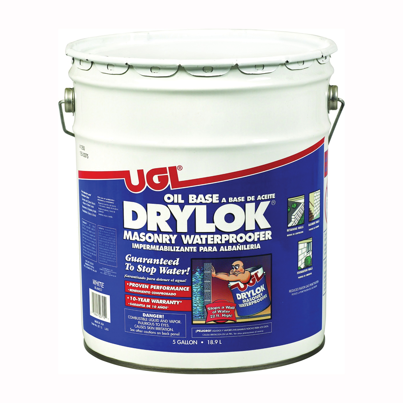 Picture of UGL DRYLOK 20715 Masonry Waterproofer, White, Liquid, 5 gal Package, Pail