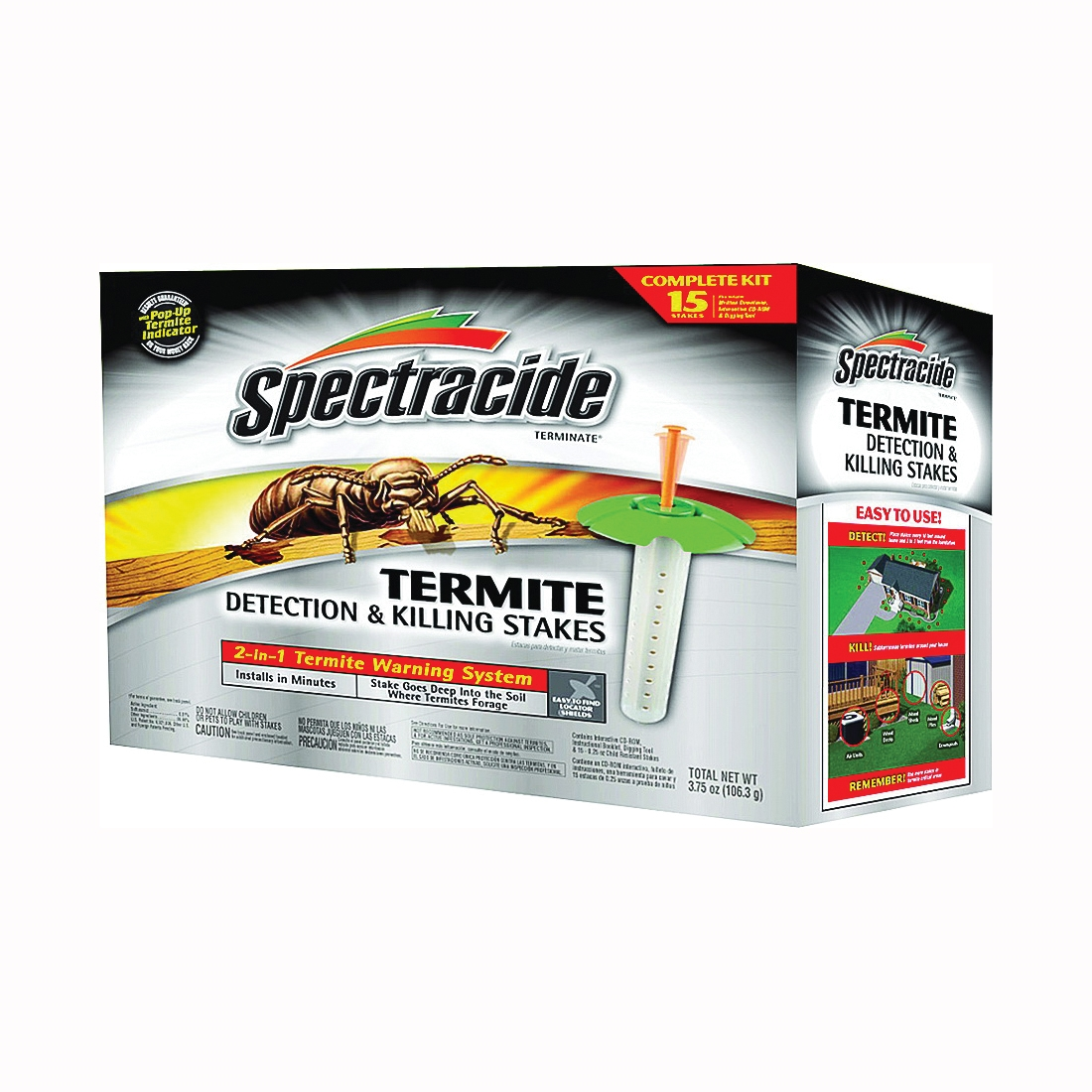 Picture of Spectracide HG-96115 Termite Detection and Killing Stake, Solid, Odorless, Brown/Tan